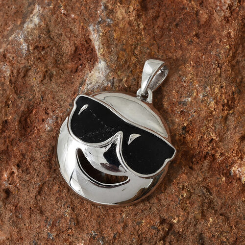 Platinum Overlay Sterling Silver Smiling Face with Sunglasses Smiley Pendant
