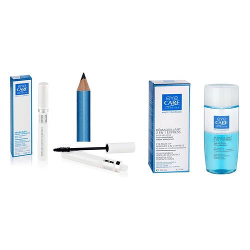 Eyecare Cosmetics- High tolerance macara blue, eyeliner pencil blue, 2 in 1 express eye makeup remover