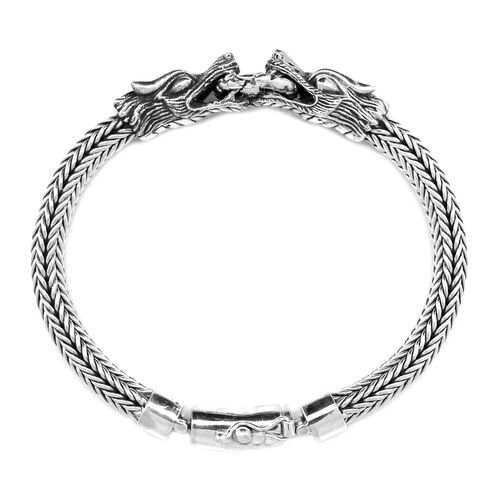 Royal Bali Collection Sterling Silver Dragon Head with Tulang Naga Bracelet (Size 7.5), Silver wt 46.00 Gms.