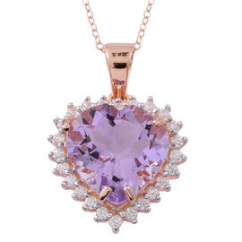 Rose De France Amethyst (Hrt 9.50 Ct), Natural White Cambodian Zircon Pendant with Chain in Rose Gold Overlay Sterling Silver 10.750 Ct.