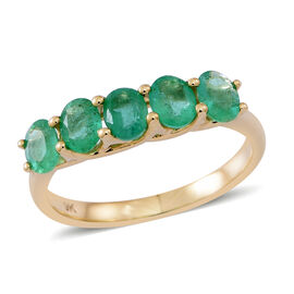 9K Y Gold AAA Kagem Zambian Emerald (Ovl) 5 Stone Ring 1.500 Ct.