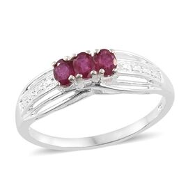 African Ruby (Ovl) Trilogy Ring in Sterling Silver 0.750 Ct.
