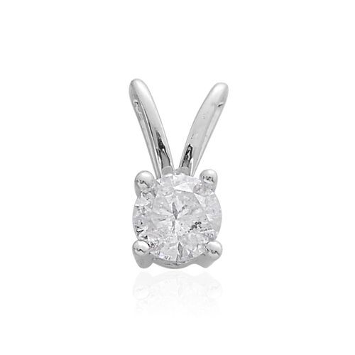 9K White Gold SGL Certified Diamond (Rnd) (I3/G-H) Solitaire Pendant 0.500 Ct.