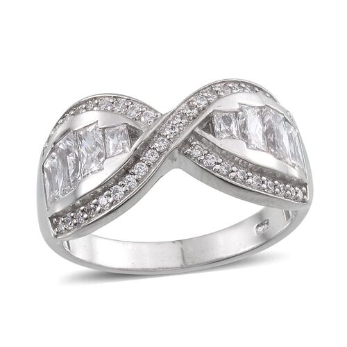 J Francis - Platinum Overlay Sterling Silver (Bgt) Crisscross Ring Made with SWAROVSKI ZIRCONIA