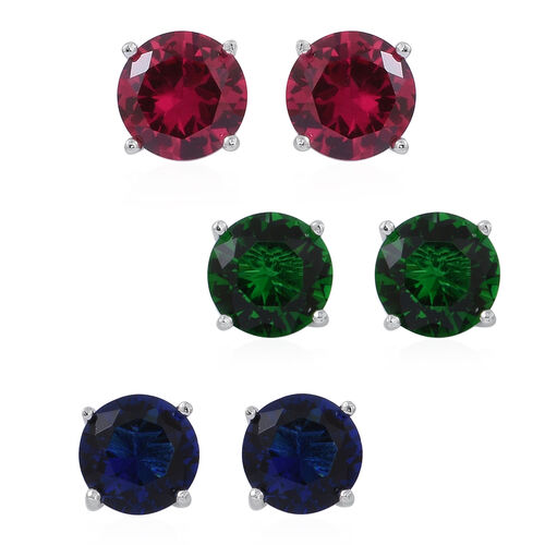 Set of 3 - ELANZA AAA Simulated Rubellite (Rnd), Simulated Tsavorite Garnet and Simulated Ceylon Sapphire Stud Earrings (with Push Back) in Rhodium Plated Sterling Silver