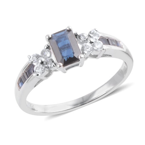 14K W Gold AAA Madagascar Blue Sapphire (Oct 0.50), White Topaz Ring 1.100 Ct.