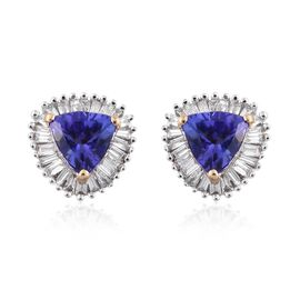ILIANA 18K Yellow Gold AAA Tanzanite (Trl), Diamond (SI/G-H) Stud Earrings (with Screw Back) 1.150 Ct.