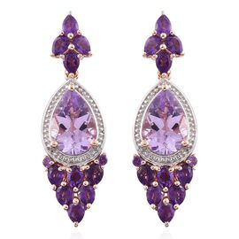 GP Rose De France Amethyst (Pear), Amethyst and Kanchanaburi Blue Sapphire Earrings (with Push Back) in Rose Gold Overlay Sterling Silver 7.890 Ct.