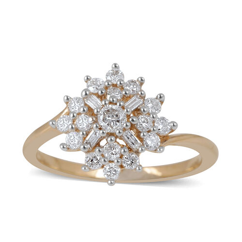 14K Yellow Gold IGI Certified Diamond (Rnd 0.06 Ct) (I2/G-H) Cluster Ring 0.500 Ct.