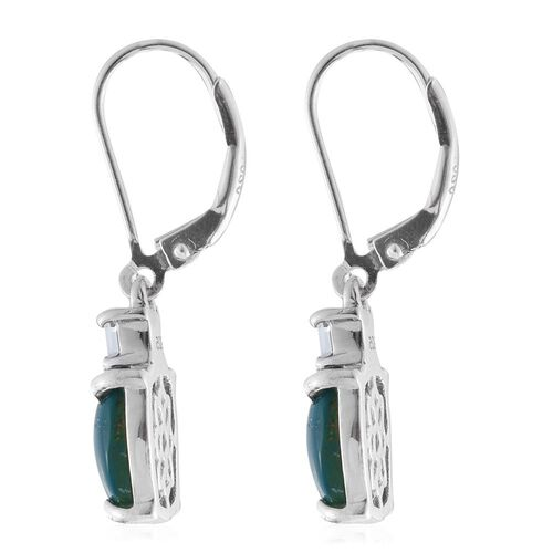 Natural Rare Opalina (Cush), Espirito Santo Aquamarine Lever Back Earrings in Platinum Overlay Sterling Silver 5.500 Ct.