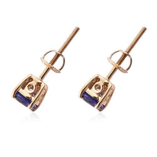 ILIANA 18K Yellow Gold AAA Tanzanite (Rnd) Stud Earrings (with Screw Back) 1.000 Ct.