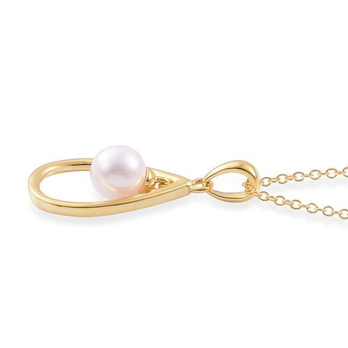 Japanese Akoya Pearl (Rnd) Pendant with Chain in Yellow Gold Overlay Sterling Silver