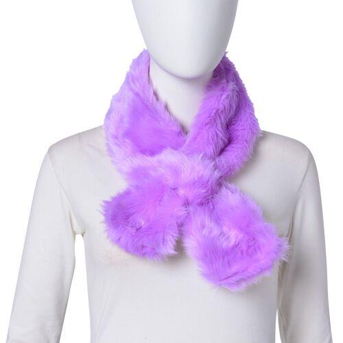 Purple Colour Faux Fur Scarf (Size 88X10 Cm), Cap (Size 29X18 Cm) and Pom Pom Keychain (Size 10 Cm)