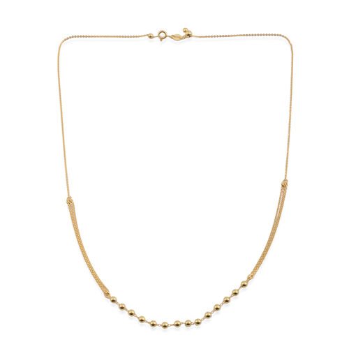 JCK Vegas Collection 14K Gold Overlay Sterling Silver Adjustable Beads Necklace (Size 20), Silver wt. 3.50 Gms.