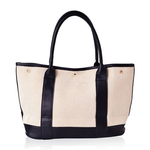 Weekend Beige and Black Colour Canvas Tote Bag (Size 37x26x15 Cm)