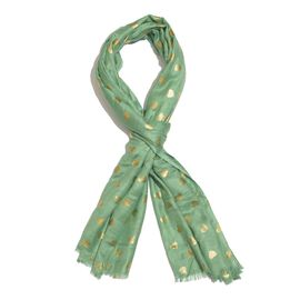 Designer Inspired - Green and Golden Colour Foil Hearts Printed Scarf with Fringes (Size 200X65 Cm)