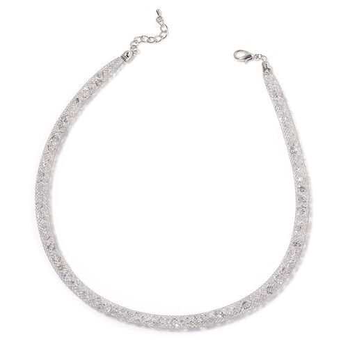 AAA White Austrian Crystal Silver Tone Mesh Necklace (Size 18 with 1 inch Extender)