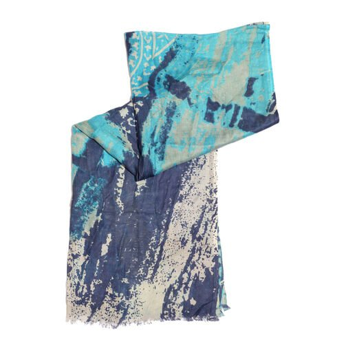 NEW FOR SEASON - Hand Screen Printed Blue and Multi Colour Printed Scarf (Size 180x55 Cm)