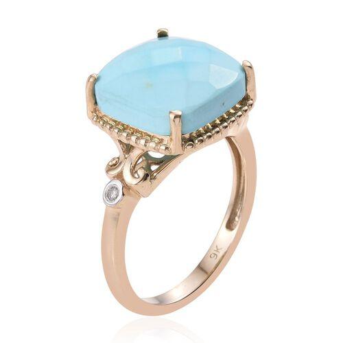 9K Y Gold Arizona Sleeping Beauty Turquoise (Cush 5.75 Ct), Diamond Ring 5.780 Ct. Gold Wt 3.52 Gms.