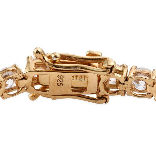 J Francis - 14K Gold Overlay Sterling Silver (Rnd) Tennis Bracelet (Size 7.5) Made with SWAROVSKI ZIRCONIA