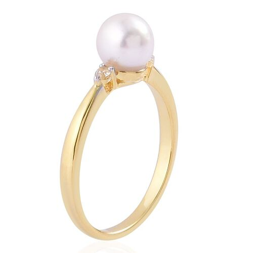 Japanese Akoya Pearl (Rnd 7.5-8mm), White Zircon Ring in Yellow Gold Overlay Sterling Silver