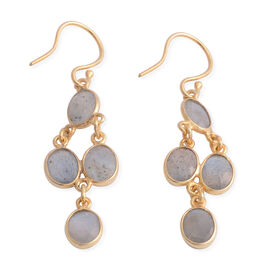 Labradorite (Ovl) Dangle Hook Earrings in Yellow Gold Overlay Sterling Silver