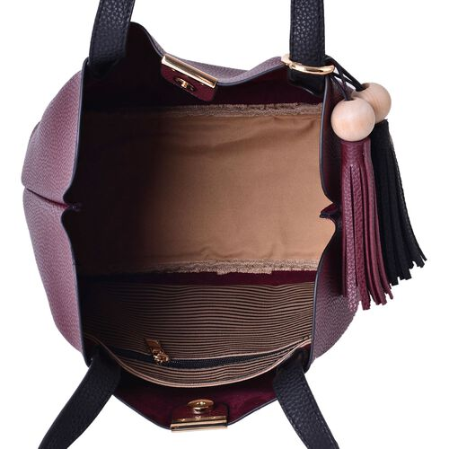 Classic Burgundy Tote Bag with Wooden Design Tassel (Size 31x25x15 Cm)