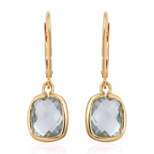 Sky Blue Topaz (Cush) Lever Back Earrings in 14K Gold Overlay Sterling Silver 5.000 Ct.
