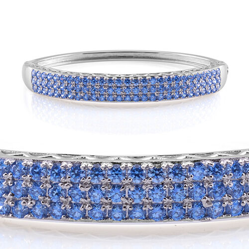 J Francis - Platinum Overlay Sterling Silver (Rnd) Bangle (Size 7.5) Made with Blue SWAROVSKI ZIRCONIA