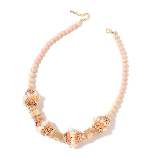 White Shell, Champagne and Multi Colour Beads Necklace (Size 20 with 2 inch Extender) in Yellow Gold Tone