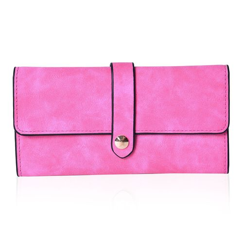 Fuchsia Colour Ladies Purse (Size 19.5x10 Cm), Simulated Pink Diamond Filled Ball Pen in Silver Tone and Set of 4 RFID Blocker Black Colour Card Holders