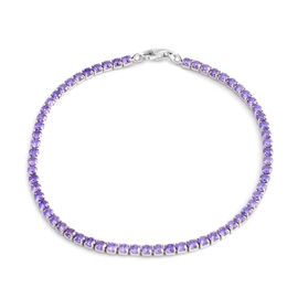 ELANZA AAA Simulated Tanzanite (Rnd) Bracelet (Size 7.5) in Rhodium Plated Sterling Silver