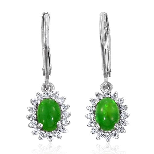 Green Ethiopian Opal (Ovl), Natural Cambodian Zircon Lever Back Earrings in Platinum Overlay Sterling Silver 1.500 Ct.