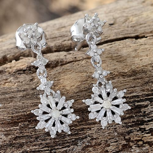 Diamond (Rnd) Dangle Earrings (with Push Back) in Platinum Overlay Sterling Silve 0.500 Ct.