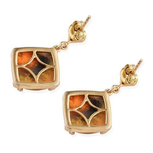 Bumble Bee Jasper (Cush) Earrings (with Push Back) in 14K Gold Overlay Sterling Silver 12.250 Ct.