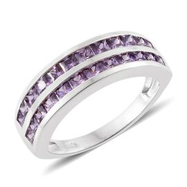 ELANZA AAA Simulated Purple Sapphire (Princess Cut) Ring in Sterling Silver
