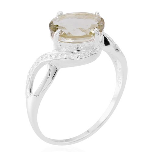 Green Amethyst (Ovl) Solitaire Ring in Sterling Silver 2.500 Ct.