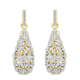 Limited Edition- 9K Yellow Gold SGL Certified Diamond (Bgt and Rnd) (I3/G-H) Earrings (with Push Back) 0.500 Ct. Number of Diamonds 102