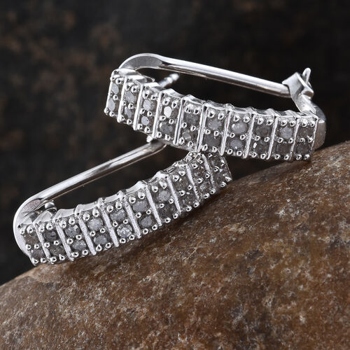 Diamond (Rnd) J Hoop Earrings (with French Clip) in Platinum Overlay Sterling Silver 0.500 Ct.