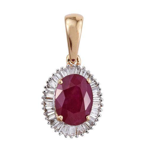 ILIANA 18K Y Gold AAAA Burmese Ruby (Ovl 1.45 Ct), Diamond Pendant 1.600 Ct.