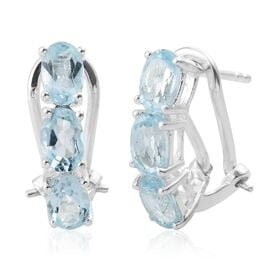 Sky Blue Topaz (Ovl) Hoop Earrings (with French Clip) in Sterling Silver 3.000 Ct.