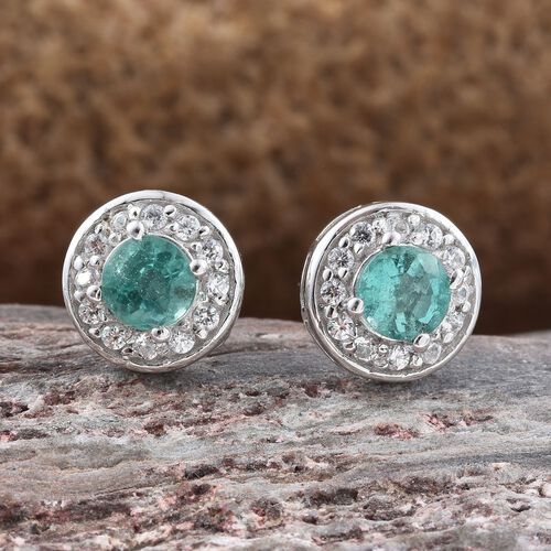 Zambian Emerald, Natural Cambodian Zircon 0.99 Ct Halo Stud Earrings in Platinum Overlay