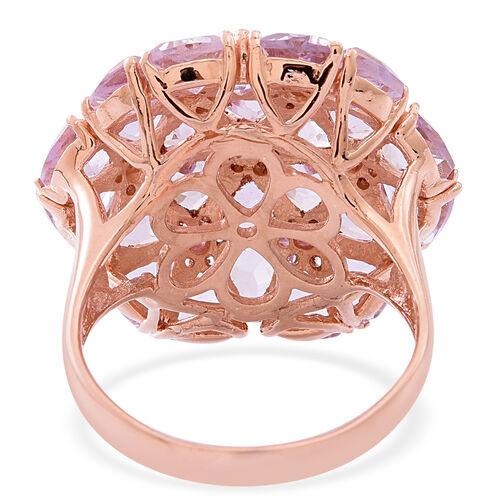 Rose De France Amethyst (Trl), Rhodolite Garnet Floral Ring in Rose Gold Overlay Sterling Silver 9.750 Ct.