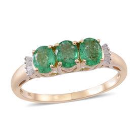9K Y Gold Kagem Zambian Emerald (Ovl), Diamond Ring 1.500 Ct.