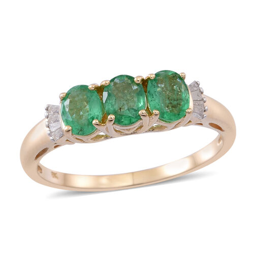 9K Y Gold Kagem Zambian Emerald (Ovl), Diamond Ring 1.500 Ct.