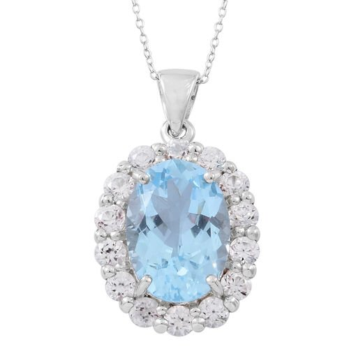 Limited Edition Designer Inspired Rare Size Swiss Blue Topaz (Ovl 14x10mm 7.65 Ct) Natural White Cambodian Zircon Pendant with Chain in Rhodium Plated Sterling Silver 9.750 Ct.