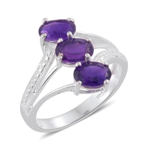 Amethyst (Ovl) Trilogy Ring in Sterling Silver 2.000 Ct.