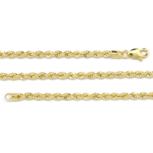 Surabaya Gold Collection - 9K Yellow Gold Diamond Cut Rope Necklace (Size 30), Gold wt 6.00 Gms.