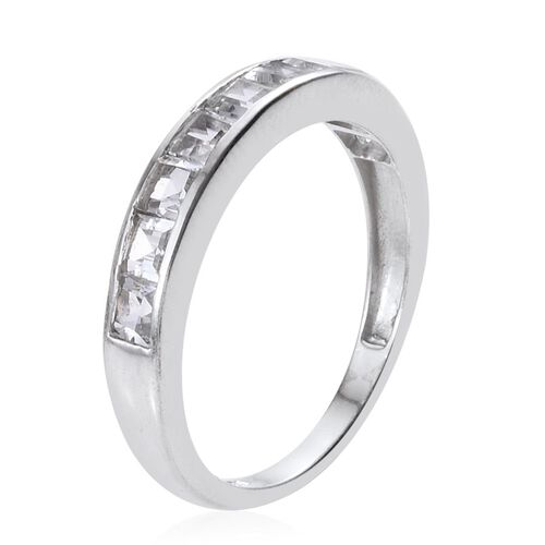 Rare Premium Cut White Topaz (Sqr) Half Eternity Band Ring in Platinum Overlay Sterling Silver 1.750 Ct.