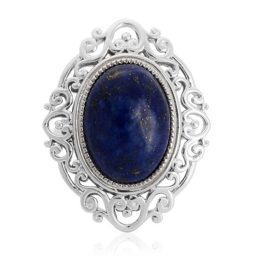 Lapis Lazuli (Ovl) Solitaire Ring in Silver Tone 12.250 Ct.
